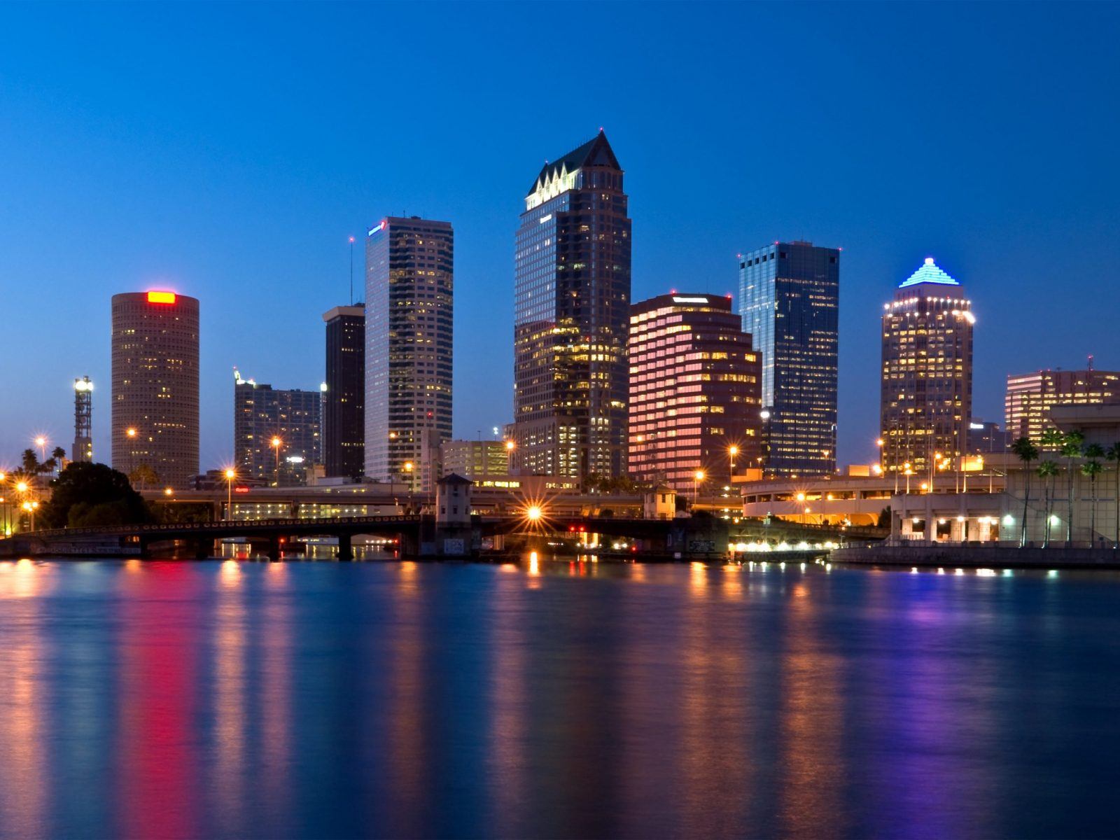 Downtown,Tampa,Florida,Skyline,At,Night